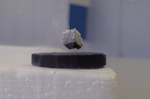 A superconductor floating on a magnet.